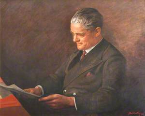 William Morris (1877–1963), Viscount Nuffield in a Brown Suit, Reading a Book