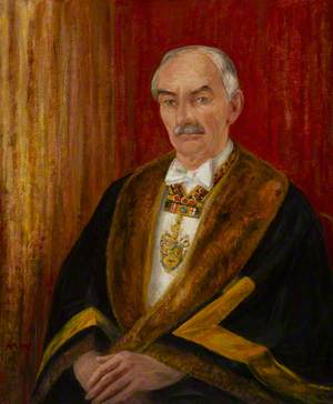 Henry Edmeadas Baker (1905–1994), in His Robes as Master of the Worshipful Company of Plumbers
