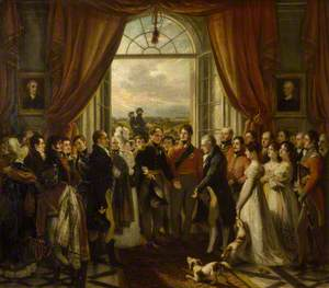 The Allied Sovereigns at Petworth, 24 June 1814 (George, 1751–1837, 3rd Earl of Egremont, with His Children Looking on, is presented by George, Prince Regent, to Tsar Alexander I of Russia in the Marble Hall at Petworth with the King of Prussia, Frederick William III)