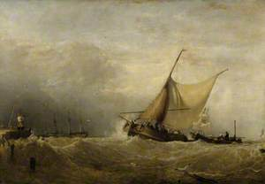 A Sea Piece, with a Dutch Fishing Boat Coming in, and Men of War in the Distance