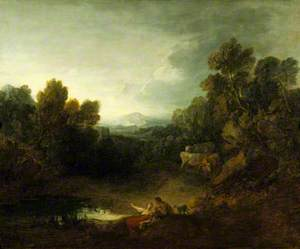 Rocky Wooded Landscape with Rustic Lovers by a Pool