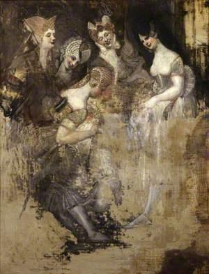 Group of Five Women Mocking an Effaced Figure (Falstaff in the Laundry Basket Mocked by Women?)