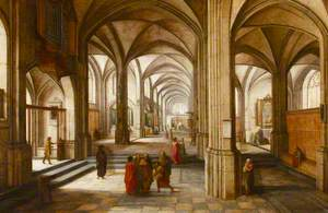 An Imaginary Church or Cathedral Interior (?), with a Biblical Scene