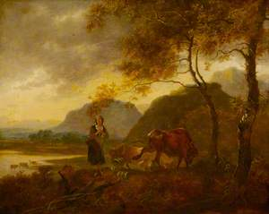 Landscape: Milkmaid and Cattle in Foreground