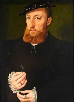 Portrait of a Bearded Man with a Blue Flower