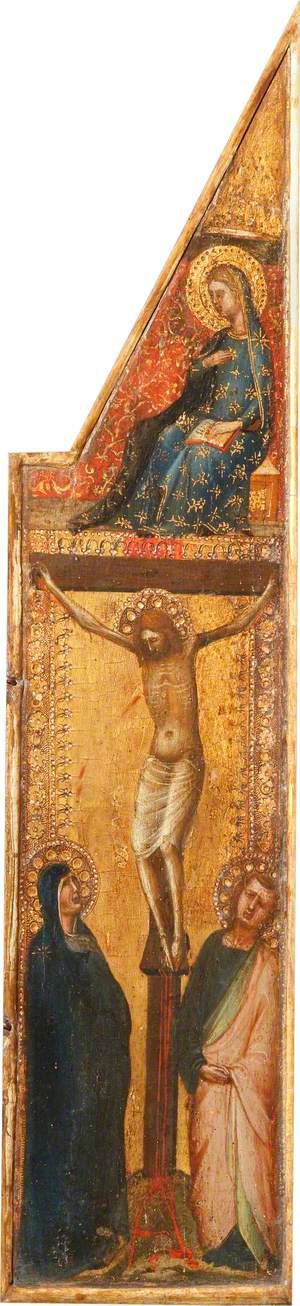 Christ on the Cross between the Virgin Mary and Saint John the Evangelist (below); the Virgin Annunciate (above)