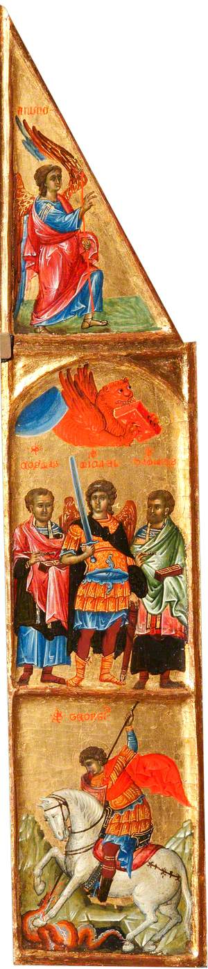 Saint Michael between Saint Cosmas and Saint Damian, and the Beast of Saint Mark the Evangelist; Saint George Killing the Dragon