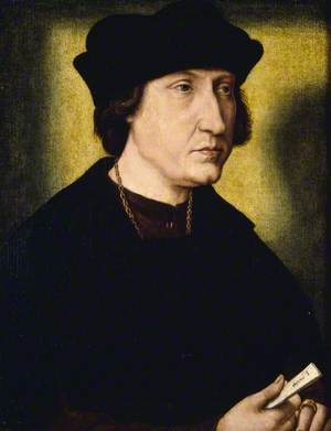 Portrait of an Unknown Man in Black, Holding a Letter