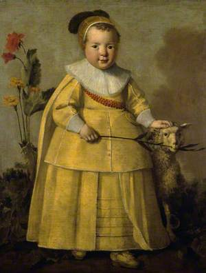 Portrait of a One-Year-Old Boy with a Sheep