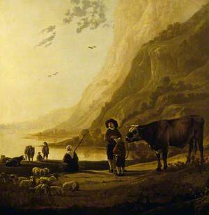 A Mountainous River Landscape with a Herdsman and Bull