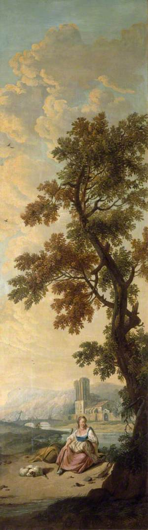 Landscape with a Young Woman Seated beneath a Tall Tree in a River Landscape, Her Dog Asleep