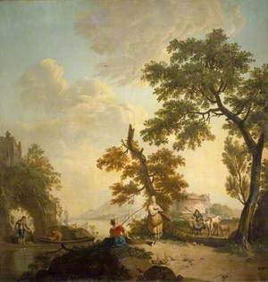 Landscape with Fishermen and Women, and a City in the Distance