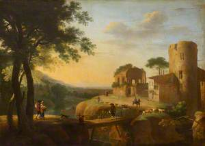 An Evening Landscape with a Castle Ruin