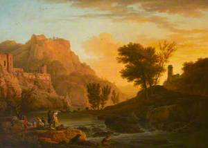A River Landscape with a Town above