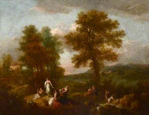 An Italian Landscape with Children Fishing