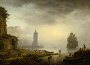 Morning: A Port in the Mist – Fishermen Hauling in Their Boat