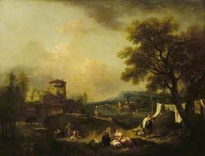 An Italian Landscape with Washerwomen