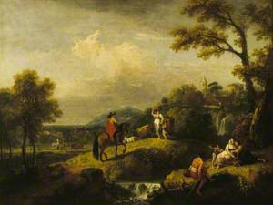 An Italian Landscape with Figures by a Waterfall and a Man on Horseback