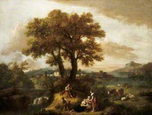 An Italian Landscape with a Boy Piping