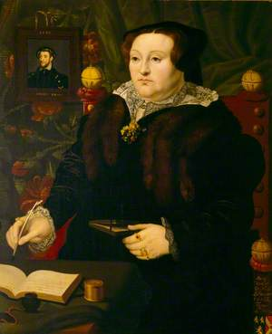 Mary Neville (1524–c.1576), Lady Dacre, with a Portrait of Her First Husband, Thomas Fiennes (1515–1541), 9th Lord Dacre