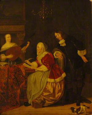A Young Woman Composing Music, Observed by a Man, with Another Woman Playing the Lute
