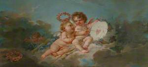 Two Putti Playing with a 'Heartboard'