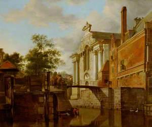 A Canal Junction, near a Church