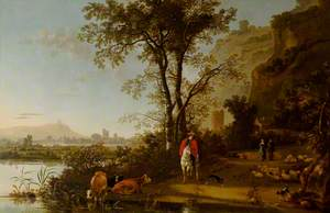 Landscape with a Horseman, Figures, and Cattle