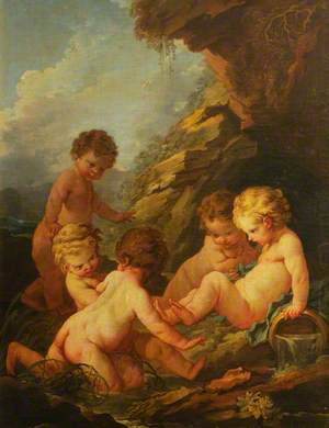 Five Naked Children Playing by a Rocky Pool