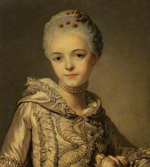 Portrait of a Lady in a Grey Dress with a Dog