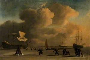 A Frozen Waterway with Three Icebound Ships