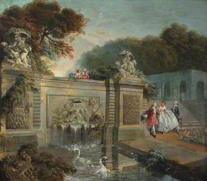 A Lady Shown a Fountain by Two Gentlemen in a Park