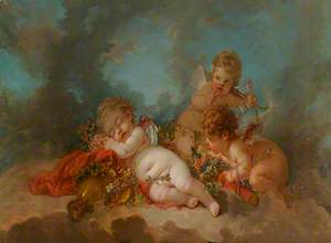 Three Cupids Floating in the Clouds