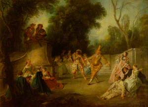 A Scene from the Commedia dell'Arte with Harlequin and Punchinello
