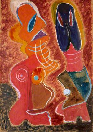 An Abstract Composition with Two Anthropomorphic Figures