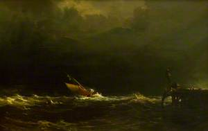 Sailing Boat in Rough Seas off a Jetty