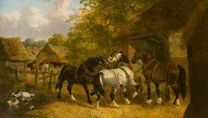 Workhorses in a Farmyard