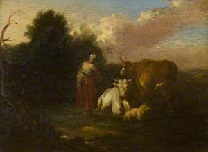 A Woman with Cattle and Sheep