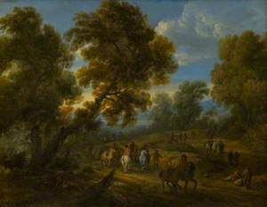 Wooded Landscape with Horsemen on a Road