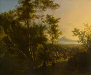 A Wooded Scene with a Sportsman, His Dog and a Hawking Party