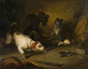 Three Terriers with Two Dead Rats