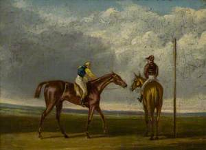 Two Racehorses at a Starting Post