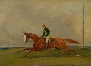 A Chestnut with the Jockey Up, with Green Colours