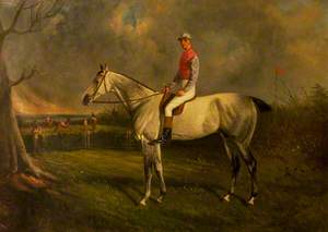 'Scot Guard', a Grey, with Jockey Up in a Landscape