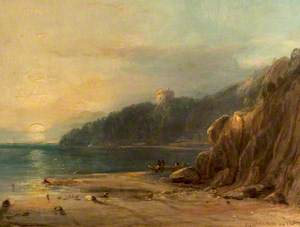 Coastal Landscape with a Castle at Sunset