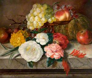 Flowers and Fruit on a Marble Ledge