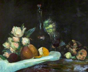 Still Life with Wine Bottle, Glass, Fruit and Flowers