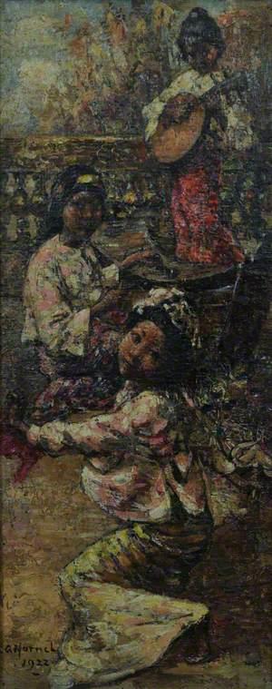 Burmese Maidens on a Terrace