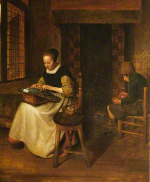 A Girl Lacemaking and a Youth Eating in an Interior