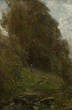 A Girl on a Woodland Path
